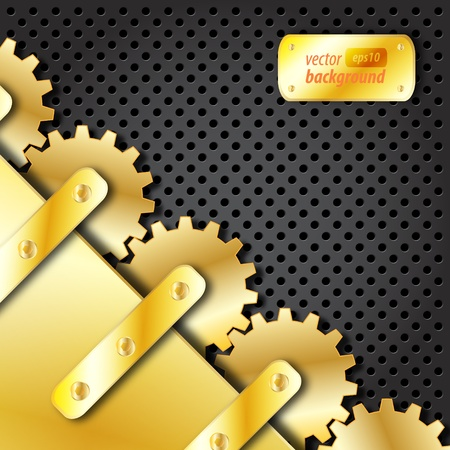 Metal plate and gold gears vector Vector