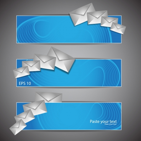 it tech: Email Icon With Blue Illustration of an email reception icon envelope with blue orbiting around, for contact us and feedback symbols