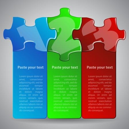 foda: ilustración hecha a partir de tres piezas de rompecabezas coloridos Vectores