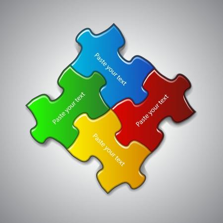 foda: ilustración hecha a partir de cuatro piezas de un rompecabezas de colores