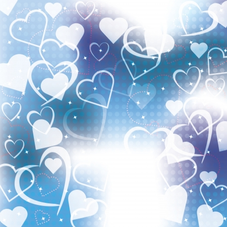 Abstract blue background with hearts of love Stock Vector - 17247671