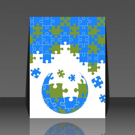 Puzzle pieces 3d globe design - flyer Stock Vector - 18522465