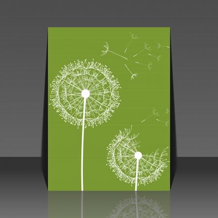 peaceful background: Dandelion flower background - flyer desing Illustration
