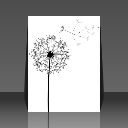 dandelion wind: Dandelion flower background - flyer design