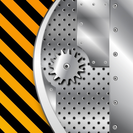 Metal plate and gears vector