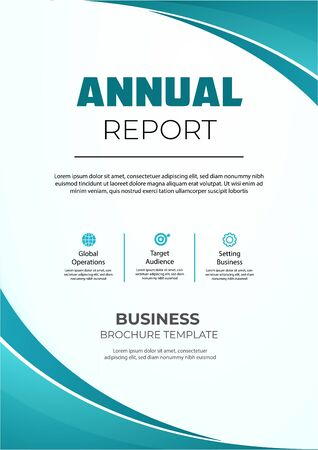 Annual report brochure with wavy shapes. Modern anual report brochure