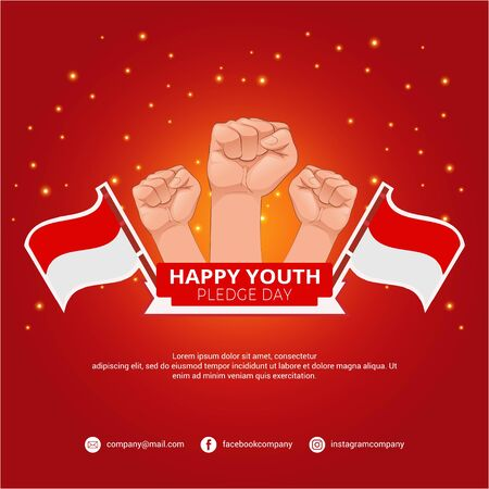 Happy youth day background. Celebration pledge day with hands and indonesia flag Illusztráció