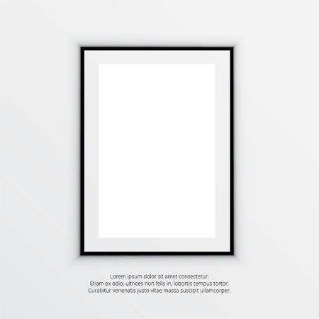 Realistic picture frame with empty space on white background. Vector illustration Векторная Иллюстрация