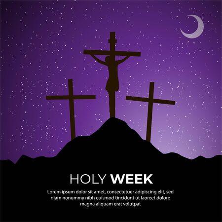 Holly Week silhouettes sunset background. Crucifixion good friday background