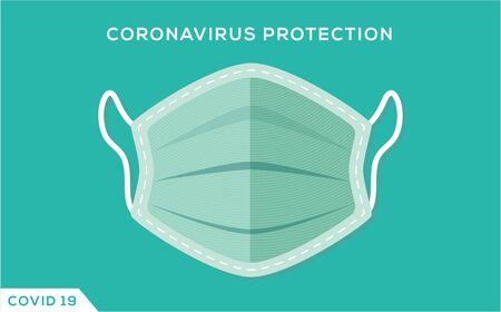 Medical mask for CoronaVirus Protection. Medical mask concept Vector Illustration