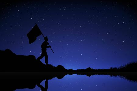 Silhouette Soldier bring flag in night sky background. War background with Soldier bring flag Suitable for greeting card, poster and banner, game background
