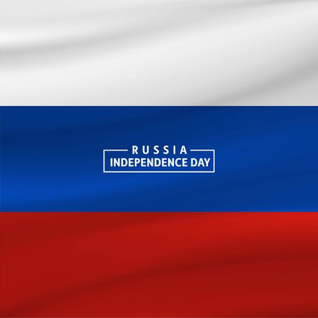 Realistic Russian Flag. Russia Independence day Design Vector Illustratie