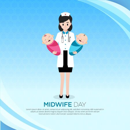 Flat Design midwife day background. Happy Midwife day design with baby boy and girl. Ilustración de vector