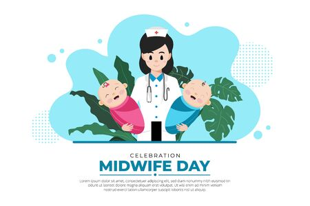 Celebration midwife day background. Midwife day design with baby boy and girl