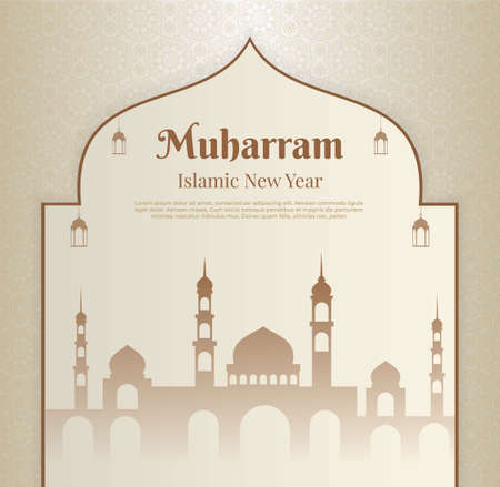 Happy Muharram islamic new year background with mosque and mandala arabic. islamic new year design