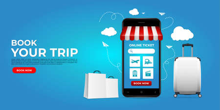 Realistic online ticketing design with smartphone. online ticketing on websites or mobile applications concepts perfect for marketing, promotion and digital marketing. Booking ticket online Standard-Bild