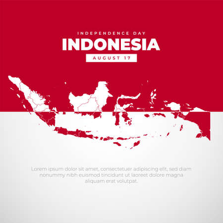 Indonesia Independence Day flat style with map of Indonesia. Independence day background