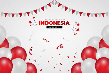 Indonesia Independence Day design with balloon, ribbon, star and flag . Modern Independence day background