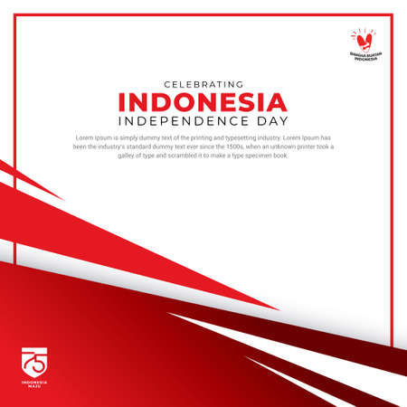 Celebration 75th Indonesia Independence day design with shape. Independence day background