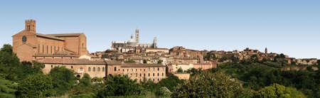 merged: Panoramic view of Siena, Italy. Photos were merged to make this.