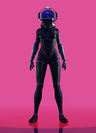 female futuristic astronaut dressed suit with helmet on pink background.- 3d render