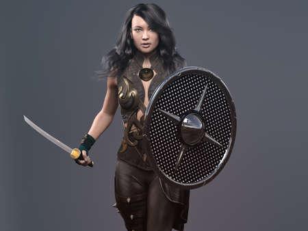 A menina com espada e escudos - renderização em 3d Foto de archivo - 93875353