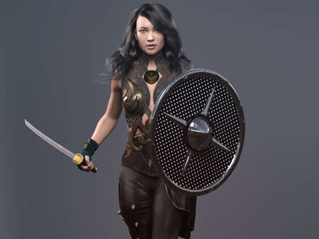 the girl with sword and shields - 3d rendering Standard-Bild
