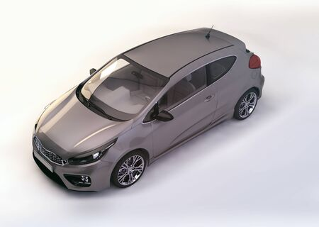 modern metallic gray city car - 3D rendering