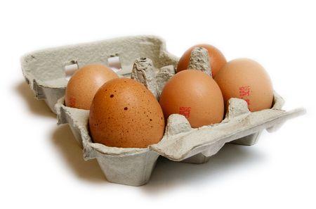 dozen: Carton of half dozen eggs Stock Photo