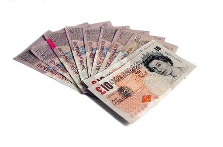 British 20 Pound Bank notes, Isolated cash money