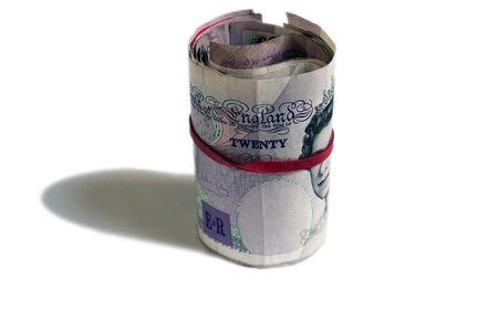 Rolled British 20 Pound Bank notes, Isolated cash money photo