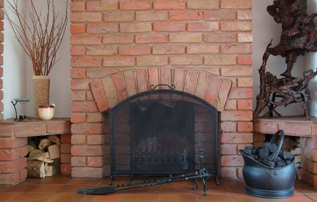 Home Fireplace, Logs, Coal bucket and Pokers... Stock Photo - 1229718