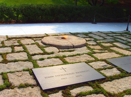 John F Kennedy Gravestone, Eternal Flame at Washington Memorial