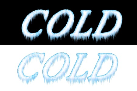 frigid: Cold Frozen Frosted Text - Isolated on Black and White