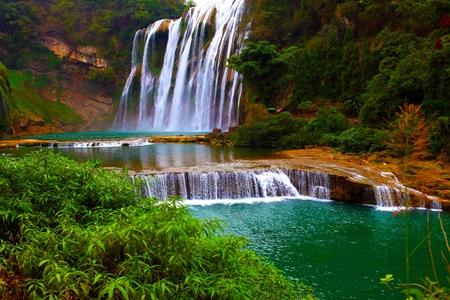 Winter beautiful waterfall