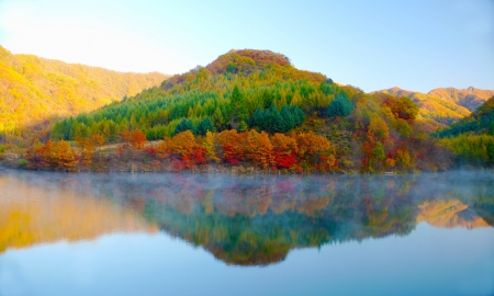 Lake and mountain reflections photo
