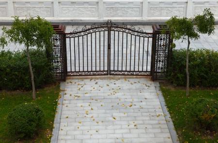 porch scene: Iron gate