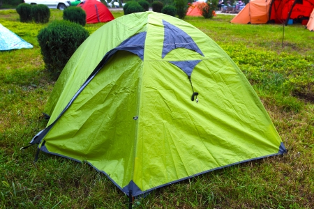Camping sites with miltie-colored tents  photo