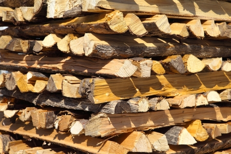 woodpile: Pile of chopped fire wood prepared for winter