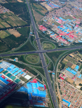 Aerial view of a highway junction  photo