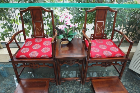 Interiors with Chinese old style wooden chairs