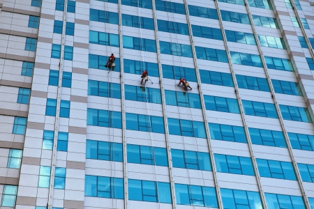 Workers washing windows  photo