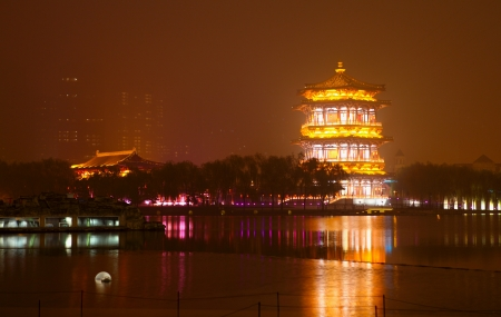 Beautiful night scenes of the famous ancient city of Xian,China  Stock Photo - 17048276