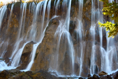 beautiful waterfall in the jiuzhaigou photo