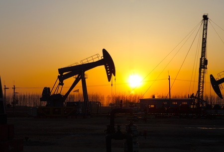 chink: Oil pumps  Oil industry equipment Stock Photo