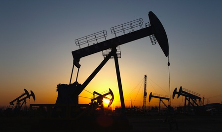 Oil pumps  Oil industry equipment Stock Photo