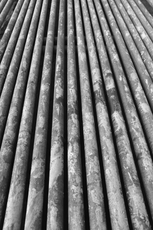 Drillpipe on Oil Rig Pipe Deck Stock Photo - 17188958