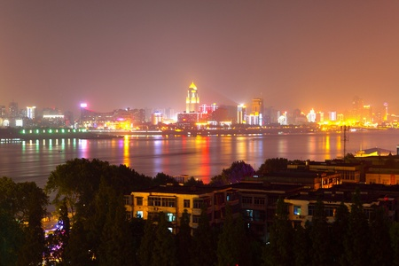 wuhan: Panoramic view of wuhan by night Stock Photo