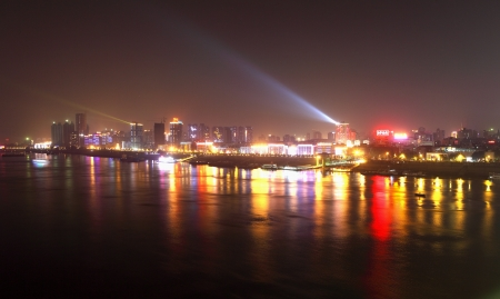 wuhan: Panoramic view of wuhan by night