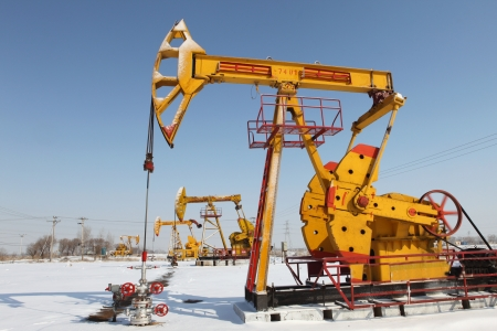 Oil pumps  Oil industry equipment   Stock Photo - 17140462